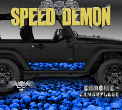2007-2017 Jeep Wrangler Rocker Wrap SKULL CRUSHER Blue